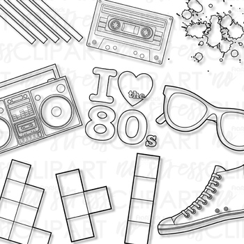 Awesome Eighties Clip Art (Digital Use Ok!)