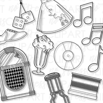 Fabulous Fifties Clip Art (Digital Use Ok!)