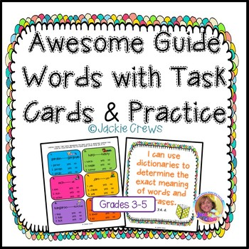 Awesome Guide Words with Task Cards & Activities