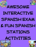 Awesome Interactive Spanish Exam & Fun Spanish Stations Ac