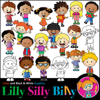 Awesome Kids MEGABUNDLE. BLACK AND WHITE & Color Clipart. {Lilly Silly Billy}