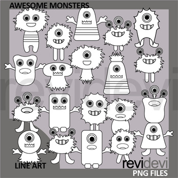 Awesome Monsters Clip Art Black and White