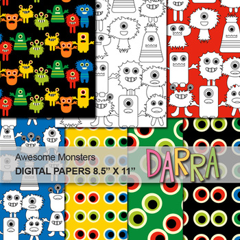 Awesome Monsters Digital Papers for worksheet page background