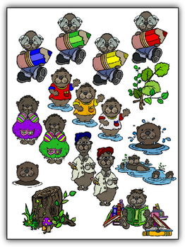 Awesome Otters Clipart (10 FREE Elements Included) Embellish Yourself Artworks
