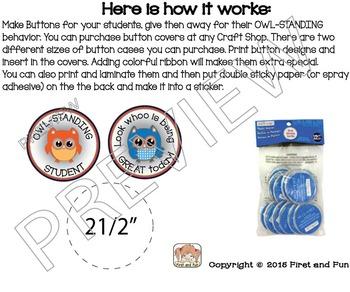Back to School Owl Button Behavior Awards