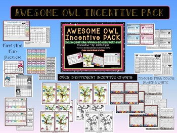 Back to School Owl Incentive Chart & Note Pack