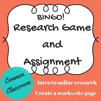 Research and Works Cited Activity / Bingo Game