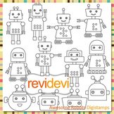 Line art Awesome Robot clip art (digital stamps, coloring graphics) S060