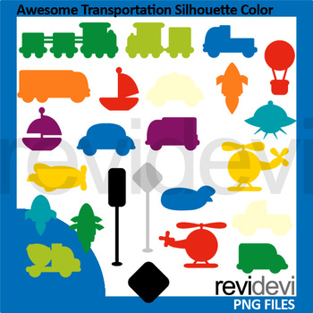 Awesome Transportation Silhouette Color Clipart
