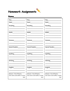 Awesome Weekly Assignment Sheet