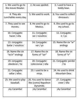 Ay Caramba: A Partner Game to Practice the Imperfect Tense