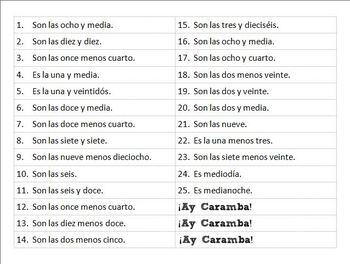 Ay Caramba: Spanish Game for Telling Time (Realidades Para Empezar)