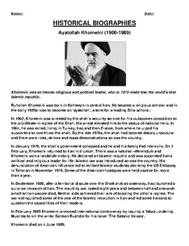 Ayatollah Khomeini Biography Article and (3) Assignments