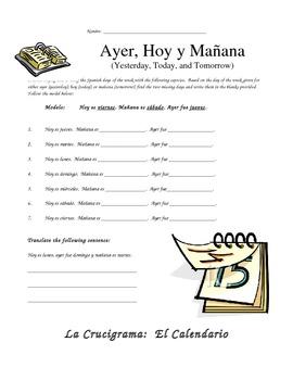 Ayer, Hoy y Mañana - Spanish Speaking Activity