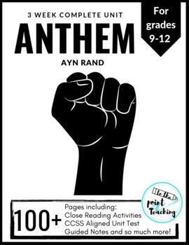 Ayn Rand Anthem Massive Unit Complete Unit And Novel Study Tpt