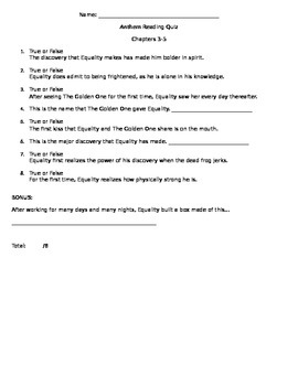 Ayn Rand Anthem Reading Quiz Chapters 3-5