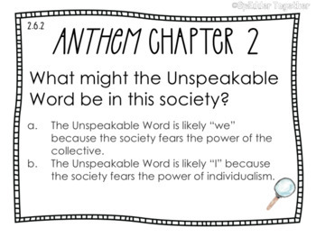 Ayn Rand's Anthem, Chapter 2 Task Cards