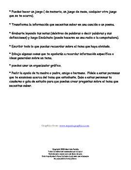Ayuda para aprender a studier-Learning to Study (In Spanish)