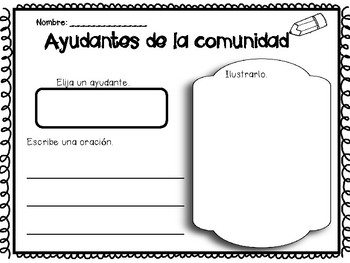 Ayudantes de la comunidad - Community Helpers Writing Station in Spanish