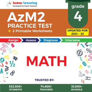 AzM2 Test Prep Language Arts - AzM2 Practice Test & Worksheets Grade 4 MATH