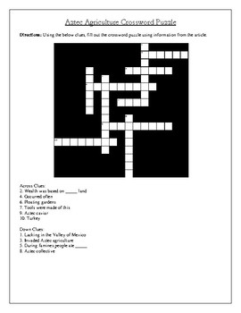 Aztec Agriculture Article, Questions, and Cross Word Puzzle
