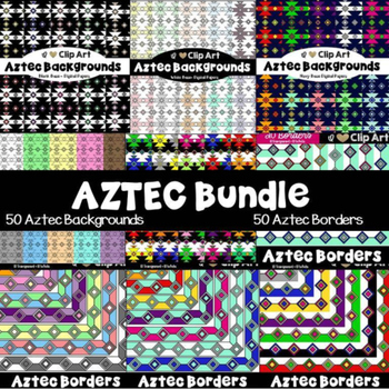 Aztec Backgrounds and Borders Bundle