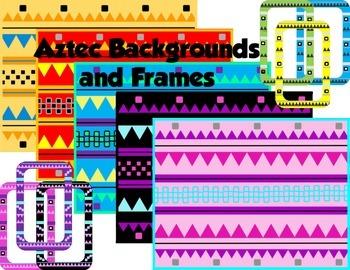 Aztec Backgrounds and Frames Clip Art Bundle