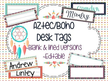 Aztec/Boho Desk Tags