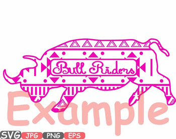 Aztec Bull Safari Monogram Circle Cutting Silhouette school Clipart zoo -547s