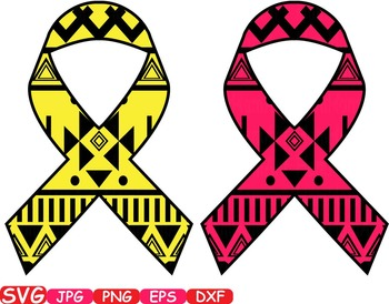 Aztec Cancer Ribbon Breast Cancer clip art doctor medic nurse doc awareness 255s