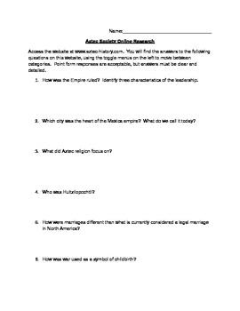 Aztec Civilization Online Questions - Social Structure