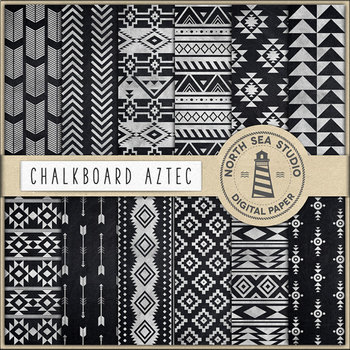 Aztec Digital Paper, Chalkboard Tribal Backgrounds
