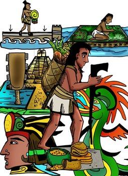 Aztec Empire Clip-Art: 16 Pieces BW and Color