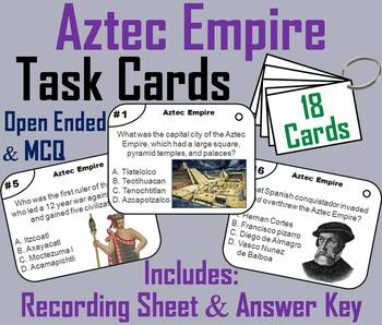 Aztec Empire Task Cards