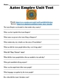 "Aztec Empire Unit Test Online Article Links (PDF) ""watch, Read & Answer"""