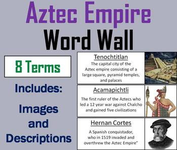 Aztec Empire Word Wall Cards