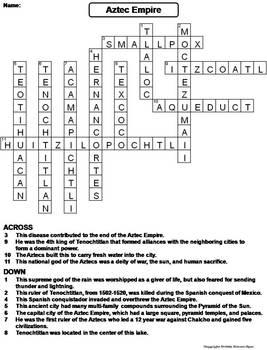 Aztec Empire Worksheet/ Crossword Puzzle