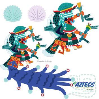 Aztec Gods and Goddesses Clip Art Set