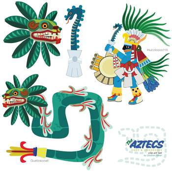Aztec Gods and Goddesses Clip Art Set