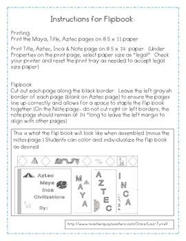 Aztec, Inca, Maya Flip Book and Activities
