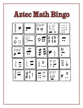 Aztec Math Bingo!  Los Números Aztecas!  Great Native American Lessons & Games!