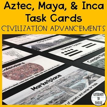Aztec, Maya, Inca Task Cards - Civilization Accomplishments
