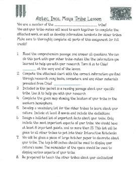 Aztec, Maya, Inca Tribe Interactive Notebook Lesson Social