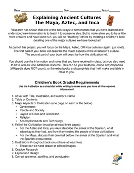 Aztec, Maya, Incan Children's Book Project and Rubric