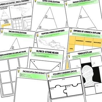 Aztec, Mayan, Incan Choice Board Activities (Paper and Google Drive Versions)