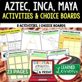 Aztec, Mayan, Incan Activities, Choice Board, Print & Digi