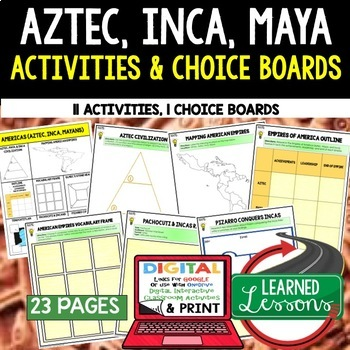 Aztec, Mayan, Incan Activities, Choice Board, Print & Digital, Google