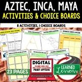 Aztec, Mayan, Incan Activities Choice Board, Digital Dista