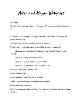 Aztec & Mayan Webquest