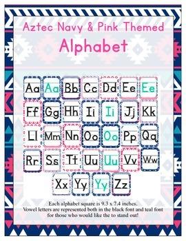 Aztec Navy & Pink ABC Printables